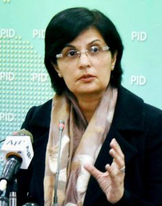 Special Assistant to Prime Minister on Social Protection and Poverty Alleviation Dr Sania Nishtar addressing a press conference in Islamabad