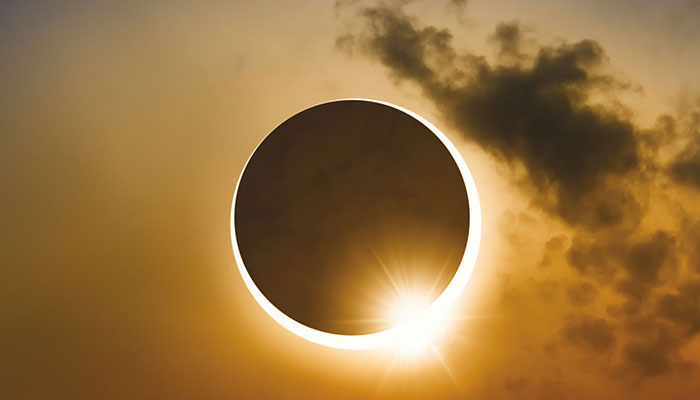 During eclipse, the moon does not completely cover the sun as it passes, leaving a glowing ring of sunlight around it.