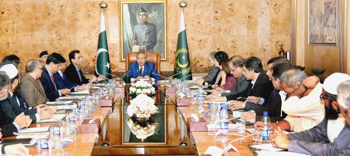 President Dr Arif Alvi chairs a meeting of Taskforce on Emerging Technologies at the Aiwan-e-Sadr