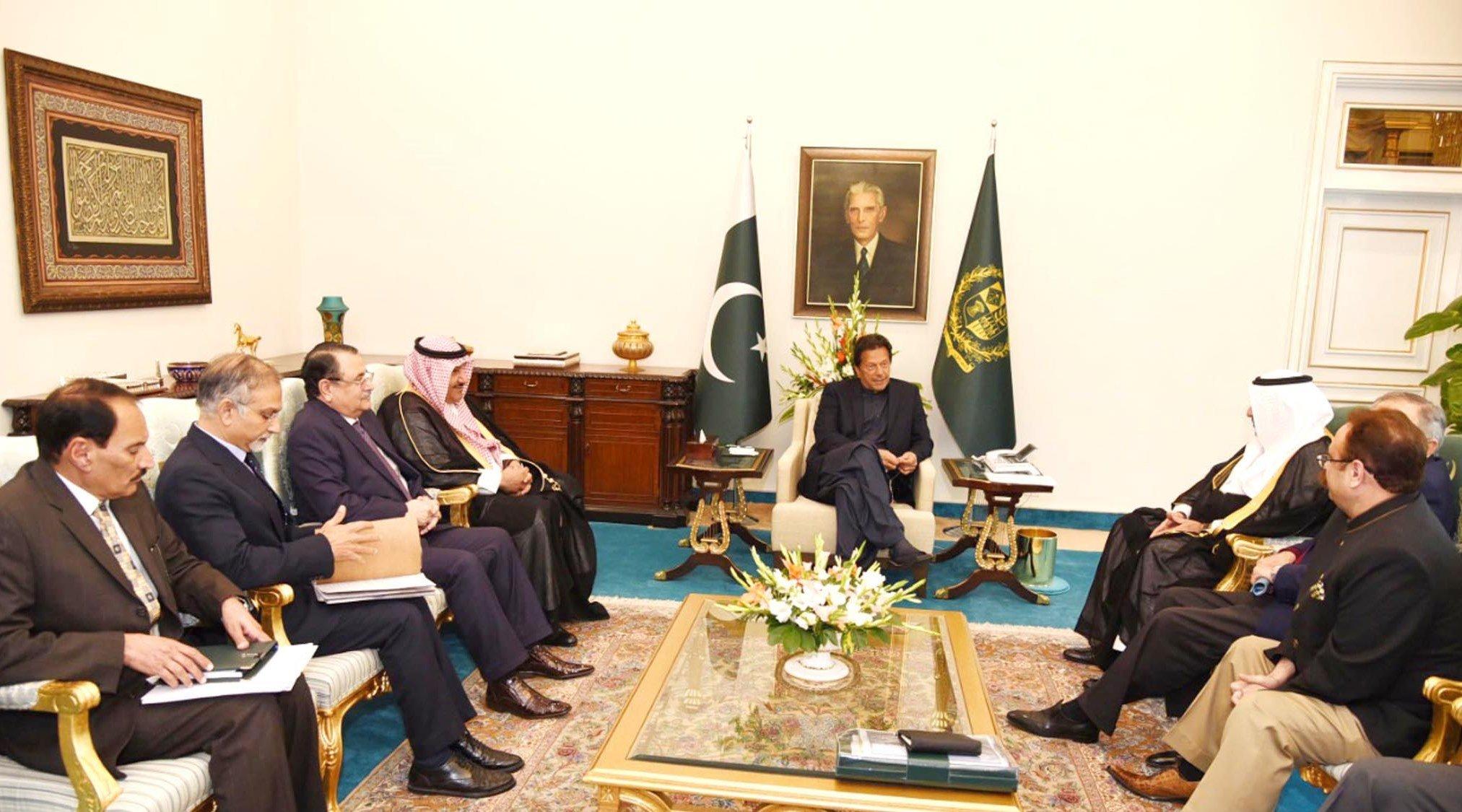 Prime Minister Imran Khan in a meeting with Tamimi Group of Companies Chairman Sheikh Tariq Ali Abdullah Al-Tamimi in Islamabad
