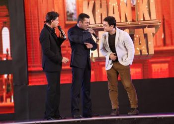 A file photo of India's superstar actors Aamir Khan, Salman Khan and Shahrukh Khan