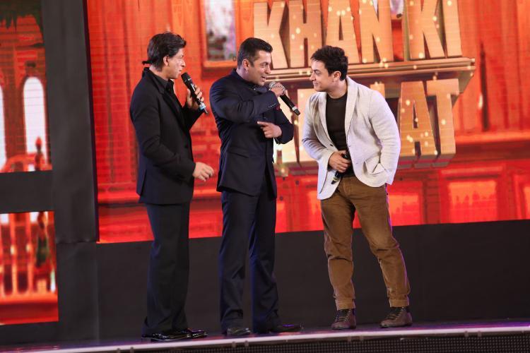 A file photo of India's superstar actors Aamir Khan, Salman Khan and Shahrukh Khan