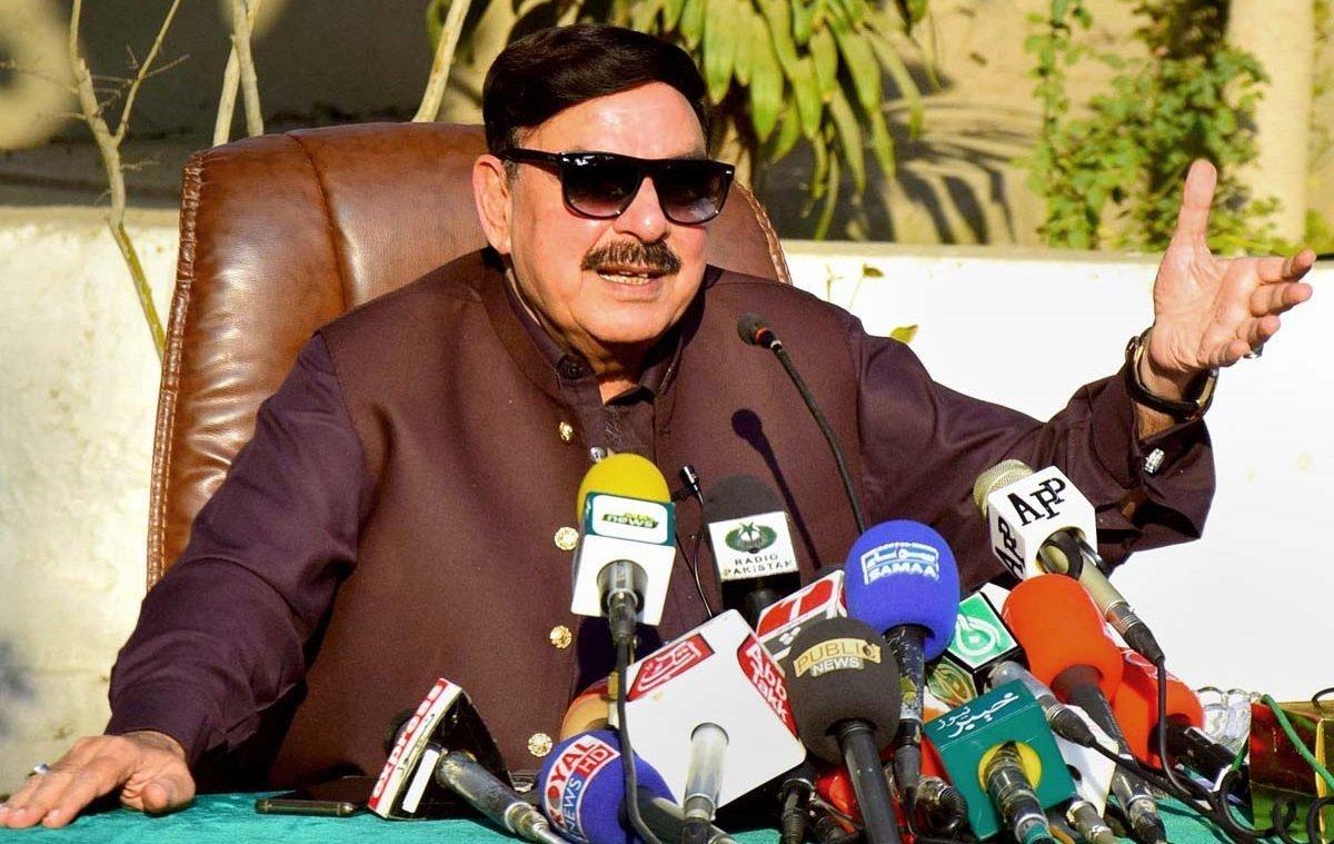 Minister for Railways Sheikh Rasheed Ahmad addressing a press conference in Peshawar