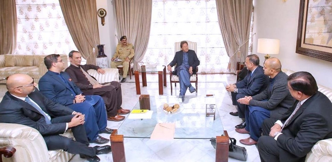 A delegation of prominent Pakistani professionals working in various sectors in Qatar call on Prime Minister Imran Khan