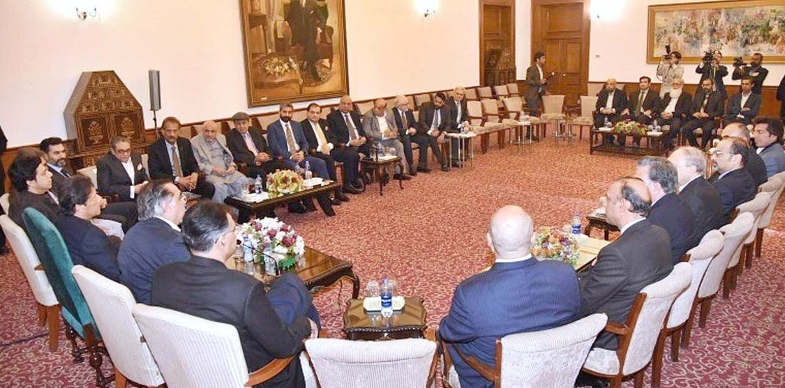 A delegation of prominent businessmen from Karachi call on Prime Minister Imran Khan at the Governor's House