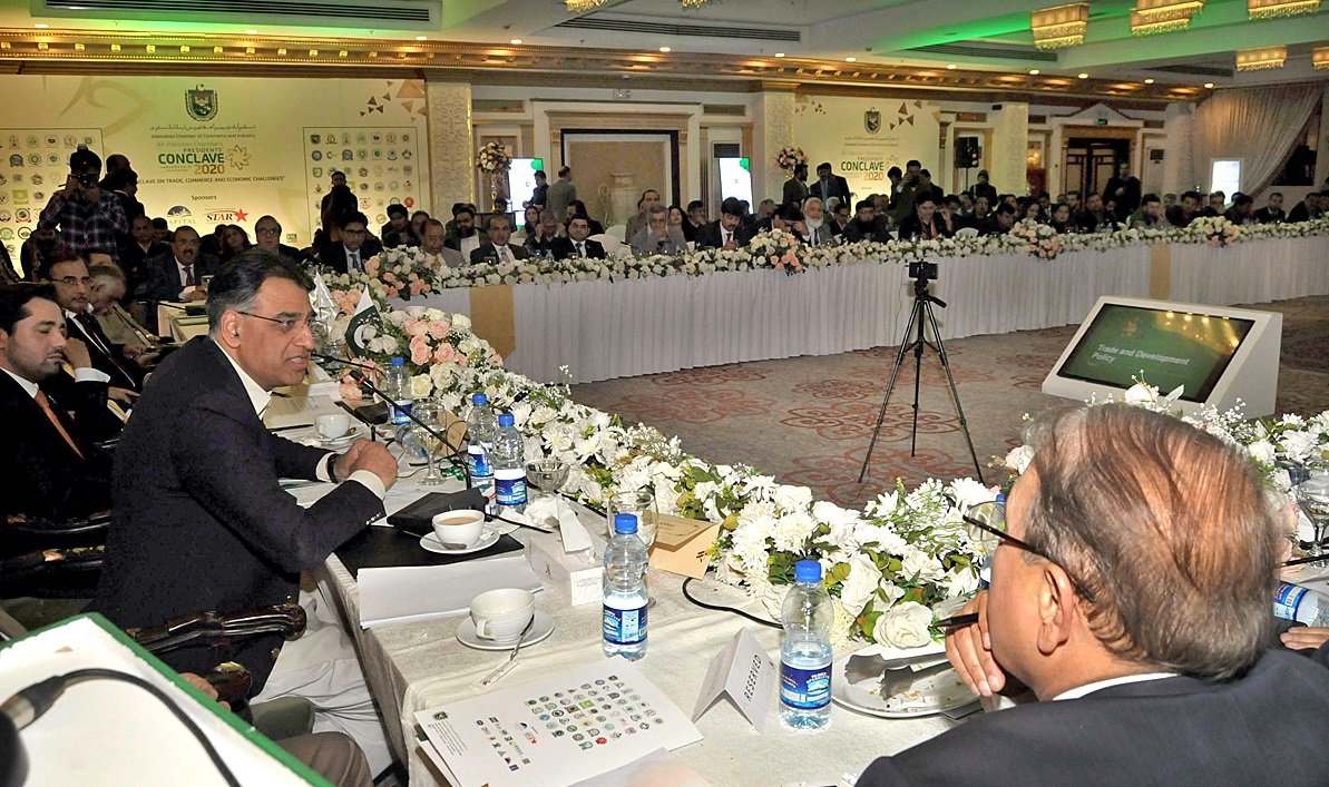 Federal Minister for Planning and Development Asad Umar addressing All Pakistan Chambers Presidents Conclave in Islamabad