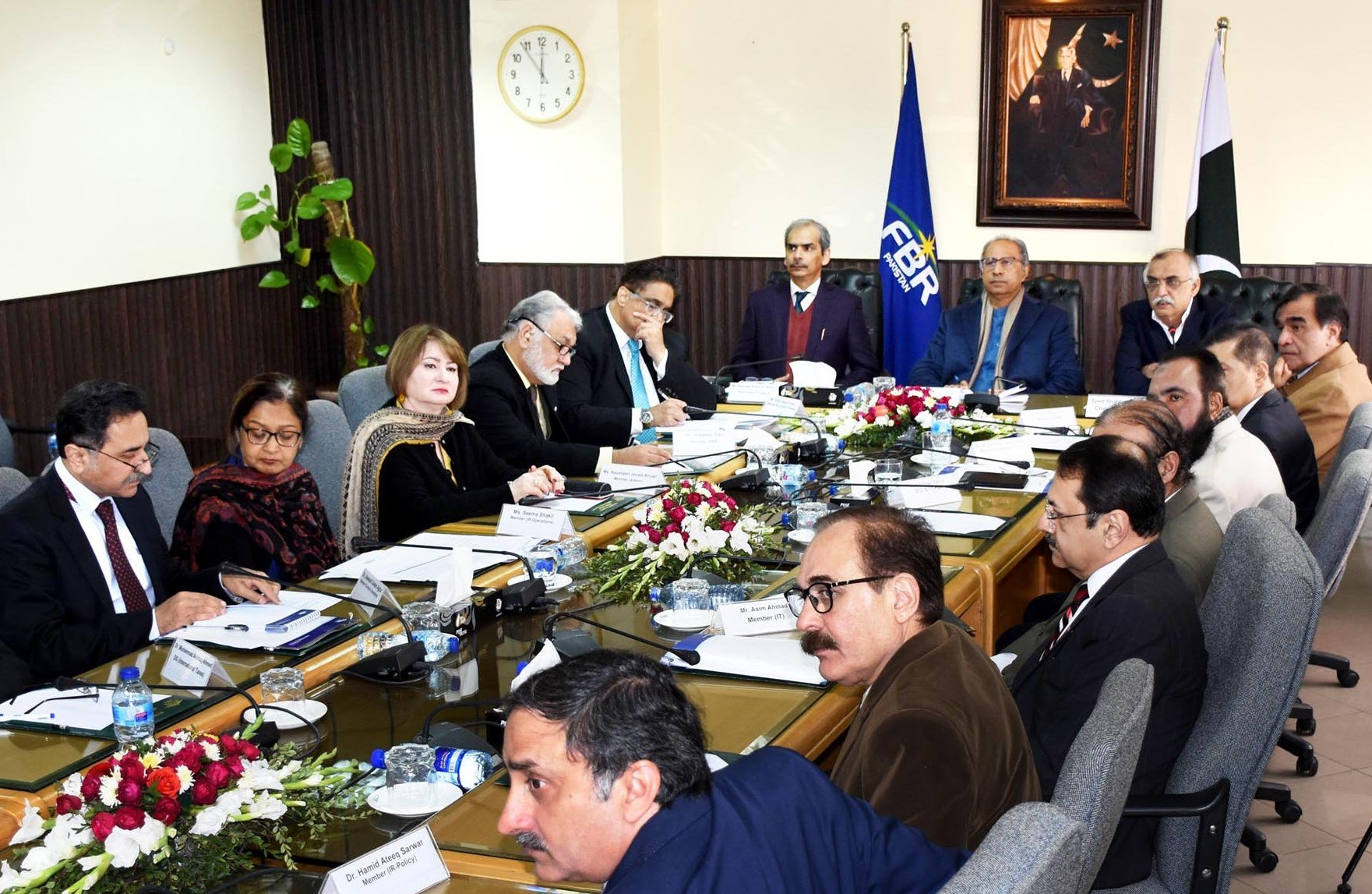 Adviser to Prime Minister on Finance and Revenue Dr Abdul Hafeez Shaikh chairing a meeting at FBR House in Islamabad to review its performance.