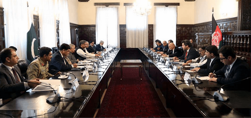 A file photo of April 2018 meeting at Presidential Palace in Kabul