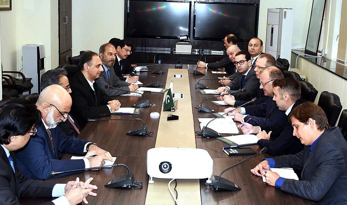 Russian Deputy Minister for Energy Anatoly Tikhonov along with delegation in a meeting with Omar Ayub Khan and Nadeem Babar in Islamabad