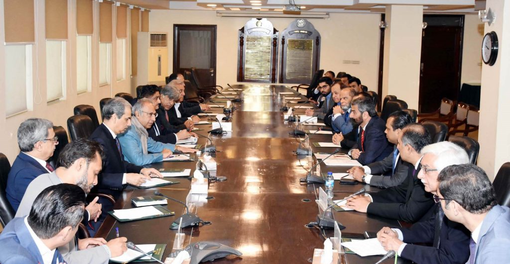 Adviser Dr Abdul Hafeez Shaikh chairing a meeting with delegation of American Business Council in Islamabad