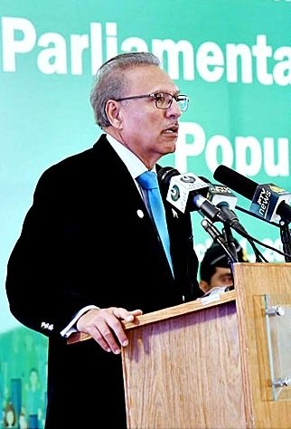 President Dr Arif Alvi addressing the launching ceremony of Parliamentary Forum on Population.