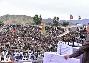 Prime Minister Imran Khan addressing a gathering in district Mohmand