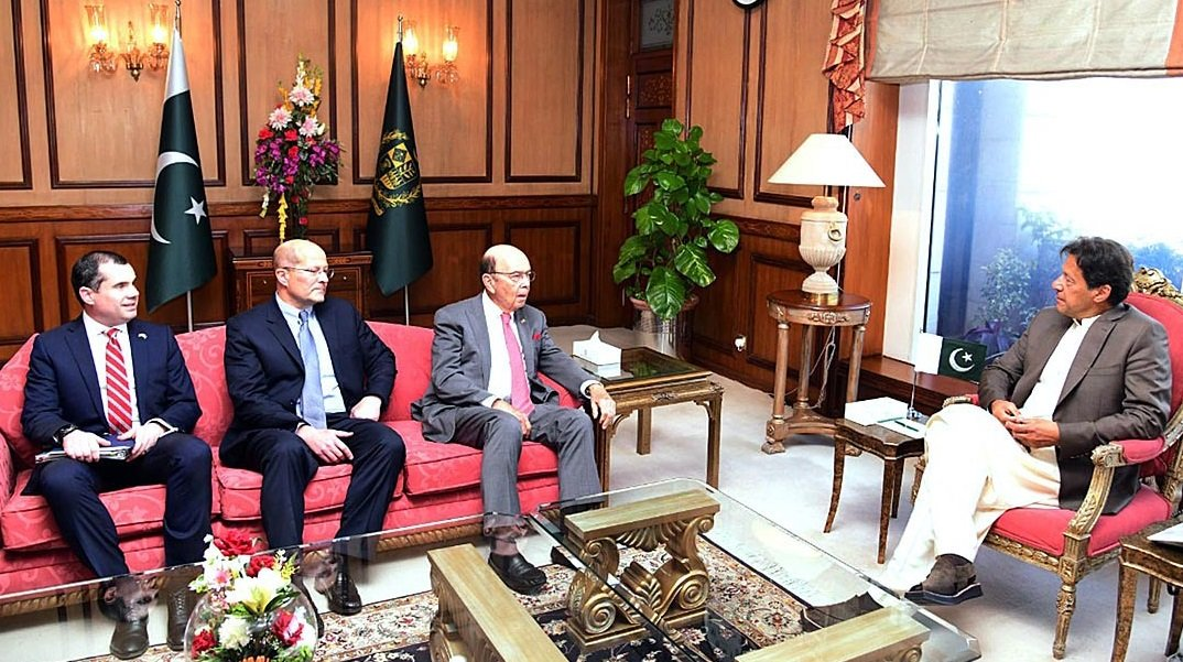 US Secretary of Commerce Wilbur Ross called on Prime Minister Imran Khan at PM Office in Islamabad.